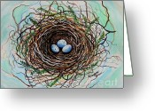 Chic Painting Greeting Cards - The Botanical Bird Nest Greeting Card by Elizabeth Robinette Tyndall