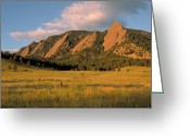 Blue Sky Photo Greeting Cards - The Boulder Flatirons Greeting Card by Jerry McElroy