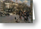 Street Scene Greeting Cards - The Boulevard des Italiens Greeting Card by Jean Francois Raffaelli