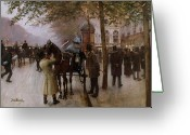 Tree-lined Greeting Cards - The Boulevards Greeting Card by Jean Beraud