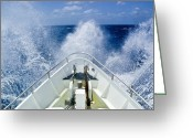 Property Released Photography Greeting Cards - The Bow Of A Ship Ploughs Through Heavy Greeting Card by Jason Edwards