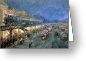 Watercolor On Paper Greeting Cards - The Bowery at Night Greeting Card by William Sonntag