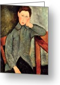 Contemplative Painting Greeting Cards - The Boy Greeting Card by Amedeo Modigliani