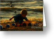 Playing On Beach Greeting Cards - The Boy On The Beach Greeting Card by Jeff Breiman