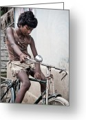 Steven Gray Greeting Cards - The Boy with the Bike Greeting Card by Steven Gray