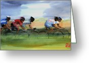 Riders Greeting Cards - The Breakaway Greeting Card by Shirley  Peters