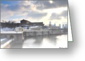 Cityscape Digital Art Greeting Cards - The Breaking Sun Over Philadelphia Greeting Card by Bill Cannon