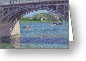 Argenteuil Greeting Cards - The Bridge at Argenteuil and the Seine Greeting Card by Gustave Caillebotte