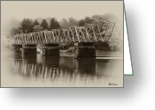 Delaware River Greeting Cards - The Bridge at Washingtons Crossing Greeting Card by Bill Cannon
