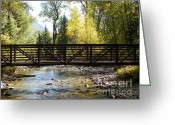 Landscape Glass Art Greeting Cards - The Bridge  Greeting Card by David Ackerson