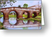 Dominica Alcantara Greeting Cards - The Bridge Over the River Yayabo Greeting Card by Dominica Alcantara