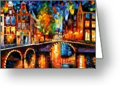 Afremov Greeting Cards - The Bridges Of Amsterdam Greeting Card by Leonid Afremov