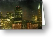 Lights Digital Art Greeting Cards - The Bright City Lights Greeting Card by Laurie Search