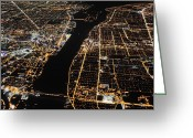 City Lights And Lighting Greeting Cards - The Bright Lights Of Detroit And Dimmer Greeting Card by Jim Richardson