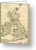 Old Map Drawings Greeting Cards - The British Isles Greeting Card by Guillaume Raynal