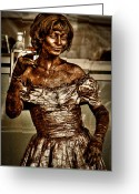 Poser Greeting Cards - The Bronze Lady in Pike Place Market Greeting Card by David Patterson
