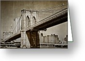 Kathy Jennings Greeting Cards - The Brooklyn Bridge Greeting Card by Kathy Jennings