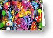 Pit Bull Greeting Cards - The Brooklyn Pitbull 1 Greeting Card by Dean Russo