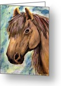 Shores Painting Greeting Cards - The Brown Horse Greeting Card by Abbie Shores