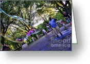 Kids At Play Greeting Cards - The Bubble Man of Central Park Greeting Card by Paul Ward