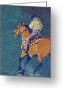 Western Pastels Greeting Cards - The Buckskin Greeting Card by Tracy L Teeter