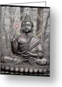 Buddha Pastels Greeting Cards - The Buddha   A Smile for Kasyapa Greeting Card by Dennis Jones