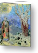 Pastels. Greeting Cards - The Buddha Greeting Card by Odilon Redon