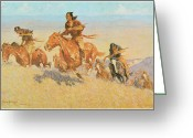 Remington Greeting Cards - The Buffalo Runners Big Horn Basin Greeting Card by Frederic Remington