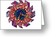 Saw Blades Greeting Cards - The Bug-Blossom Greeting Card by Jessica Sornson