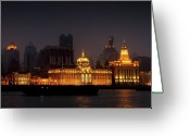 City Lights Greeting Cards - The Bund - More than Shanghais most beautiful landmark Greeting Card by Christine Till