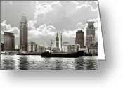 Shanghai China Greeting Cards - The Bund - Old Shanghai China - A museum of international architecture Greeting Card by Christine Till