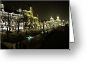 Nightshot Greeting Cards - The Bund - Shanghais famous waterfront Greeting Card by Christine Till
