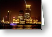 Nightshot Greeting Cards - The Bund - Shanghais magnificent historic waterfront Greeting Card by Christine Till