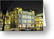 Night Scene Greeting Cards - The Bund - Shanghais signature strip of historic riverfront architecture Greeting Card by Christine Till