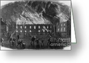 Muskets Greeting Cards - The Burning Of The U.s. Arsenal Greeting Card by Photo Researchers