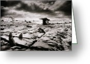 Grey Clouds Greeting Cards - The Burren Greeting Card by Simon Marsden