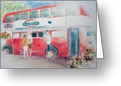 Street Vendor Greeting Cards - The Bus Stop Greeting Card by Pat Katz