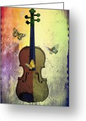 Violin Digital Art Greeting Cards - The Butterflies and the Violin Greeting Card by Bill Cannon