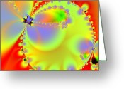 Mandelbrot Set Greeting Cards - The Butterfly Effect . Summer . Square Greeting Card by Wingsdomain Art and Photography