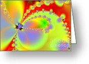 Mandelbrot Greeting Cards - The Butterfly Effect . Summer Greeting Card by Wingsdomain Art and Photography
