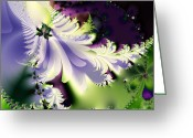 Mandelbrot Set Greeting Cards - The Butterfly Effect . Version 2 . Square Greeting Card by Wingsdomain Art and Photography