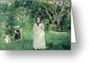 Gardens Greeting Cards - The Butterfly Hunt Greeting Card by Berthe Morisot
