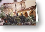 Featured Artist Painting Greeting Cards - The Cactus Courtyard - Mission Santa Barbara Greeting Card by David Lloyd Glover