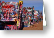 Graffiti Greeting Cards - The Cadillac Ranch by Amarillo TX Greeting Card by Susanne Van Hulst