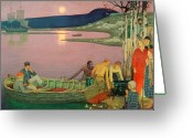 Sunset Scenes. Painting Greeting Cards - The Call of the Sea Greeting Card by Frederick Cayley Robinson