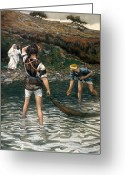 Standing Painting Greeting Cards - The Calling of Saint Peter and Saint Andrew Greeting Card by Tissot
