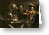 Pointing Painting Greeting Cards - The Calling of St. Matthew Greeting Card by Michelangelo Merisi da Caravaggio