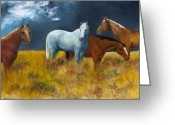 Horse Greeting Cards - The Calm After the Storm Greeting Card by Frances Marino