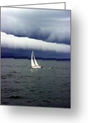 Sailboat Greeting Cards - The Calm Greeting Card by Bill Barowy