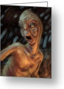 Monster Digital Art Greeting Cards - The Campfire Visitor Greeting Card by Ethan Harris